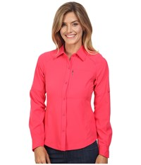Columbia Silver Ridge L S Shirt Punch Pink Women's Long Sleeve Button Up Red