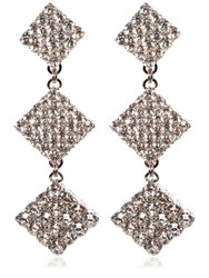 Alessandra Rich Crystal Long Square Clip On Earrings Transparent
