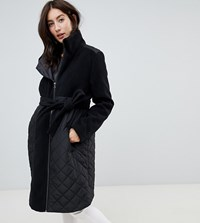 Mamalicious Padded Wool Mix Coat With Zip In Maternity Panel Black