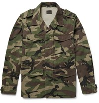 Saint Laurent Appliqued Camouflage Print Cotton Twill Parka Green
