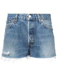 Re Done Faded Shorts Blue