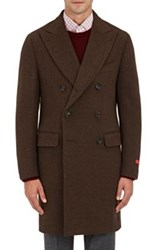 Isaia Men's Wool Melton Double Breasted Peacoat Brown