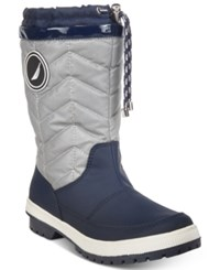 Nautica Becher Quilted Cold Weather Boots Women's Shoes Silver Navy