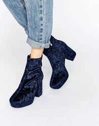 Truffle Collection Platform Heel Ankle Boot Navy Velvet Blue