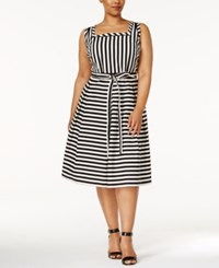 Anne Klein Plus Size Striped Fit And Flare Dress Black Optic White