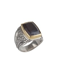 Konstantino Men's Sterling Silver And 18K Gold Square Ring With Hawk's Eye Black