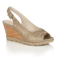 Lotus Elaine Open Toe Wedge Sandals Gold