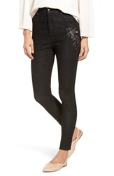 Nordstrom Embroidered Crop Denim Leggings Black