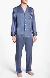 Majestic International 'Cypress' Silk Pajamas Navy