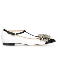 Gedebe 'Kate' T Bar Ballerinas White