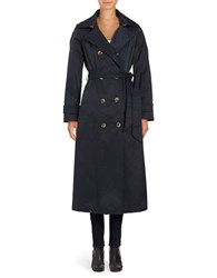 Anne Klein Tailored Fit Double Breasted Trench Coat Navy