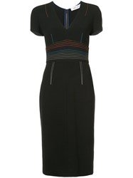 Diane Von Furstenberg Plunge Fitted Dress Triacetate Black