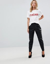 First And I Faux Leather Peg Leg Trouser Black