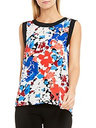 Vince Camuto Sleeveless Nautical Blooms Blouse Antique White