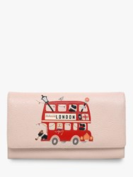 Radley Party Bus Leather Flapover Matinee Purse Dove Grey