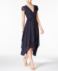 Betsey Johnson Polka Dot Faux Wrap Midi Dress Navy White