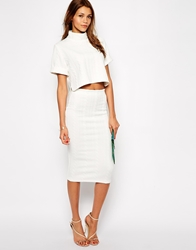 Tfnc Textured Pencil Skirt Ivory