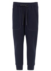 Nlst Navy Cropped Jersey Jogging Trousers