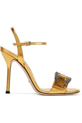Gucci Dionysus Metallic Leather Sandals Gold
