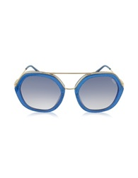 Emilio Pucci Ep0014 Glitter Gold Metal And Acetate Round Sunglasses