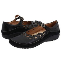 Naot Footwear Rahina Black Madras Leather Black Suede Women's Maryjane Shoes Gray