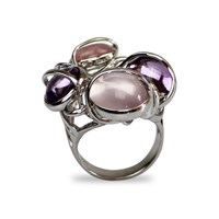 Bellus Domina Rose Quartz And Amethyst Four Islands Ring Silver