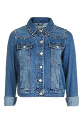 Topshop Moto Denim Fitted Western Jacket Mid Stone