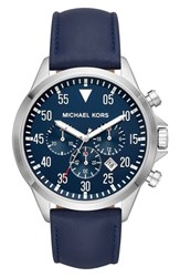 Michael Kors Gage Chronograph Leather Strap Watch 45Mm Blue Silver