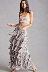 Forever 21 Pixie And Diamond Floral Skirt Grey Multi