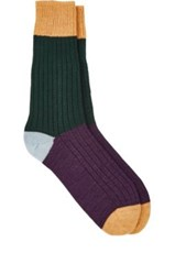 Corgi Men's Colorblocked Crew Socks Green