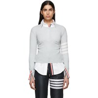 Thom Browne Grey Cashmere 4 Bar Sweater