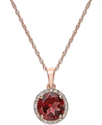 Macy's Garnet 1 1 2 Ct. T.W. And Diamond Accent Pendant Necklace In 14K Rose Gold