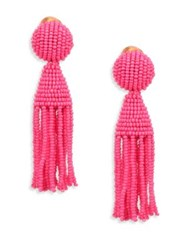 Oscar De La Renta Short Beaded Tassel Clip On Earrings Tourmaline
