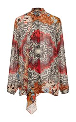Etro Paisley Floral Chiffon Ruffle Blouse Red