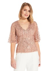 Adrianna Papell Beaded Half Cape Top Rose Gold