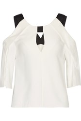 Roland Mouret Robyn Cutout Stretch Crepe Top Ivory