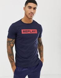 Replay Bold Logo Crew Neck T Shirt In Navy