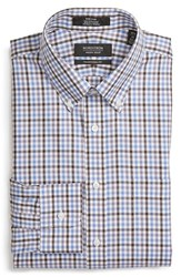Nordstrom Men's Big And Tall Men's Shop Traditional Fit Non Iron Check Dress Shirt Brown Seal