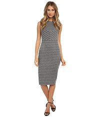 Donna Morgan Sleeveless Knit Houndstooth Bodycon Dress Grey Women's Dress Gray