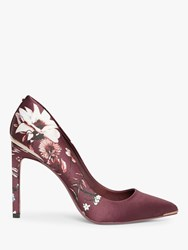 Ted Baker Malenii Floral Stiletto Heel Court Shoes Red Bordeaux