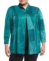 Ming Wang 3 4 Sleeve Stand Collar Jacket Teal