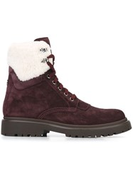 Moncler Lace Up Suede Boots Pink And Purple