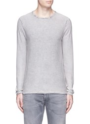 Scotch And Soda Washed Purl Knit Long Sleeve T Shirt Grey