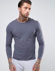 Another Influence Basic Raw Edge Long Sleeve Top Navy
