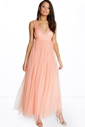 Boohoo Anya Seam Detail Tulle Maxi Dress Peach