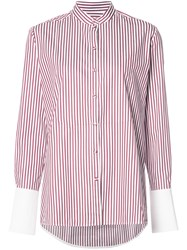 Victoria Beckham Mandarin Collar Shirt Red