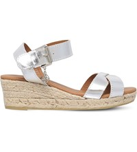 Kurt Geiger Libby Metallic Leather Wedge Sandals Silver