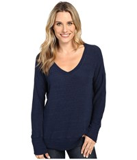 Allen Allen Long Sleeve Sweater Vee Lapis Women's Sweater Navy