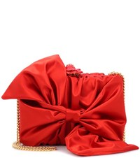 Oscar De La Renta Rogan Bow Box Clutch Red