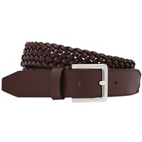 Reiss Tower Plaited Leather Belt Oxblood